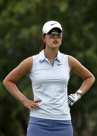 MORELIA, MEXICO- APRIL 23:  Michelle Wie looks on the 5th hole  during the first round of the 2009 Corona Championship, part of the LPGA Tour, on April 23, 2009 at the Tres Marias Golf Club in Morelia, Michoacan, Mexico. (Photo by Donald Miralle/Getty Images)