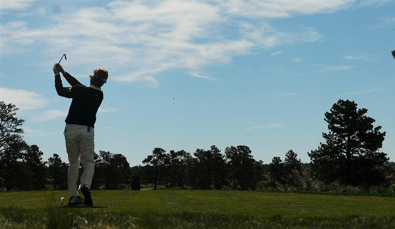 PARKER, CO. - MAY 27:   Bernhard Langer tees off the 13th hole during the first round of the Senior PGA Championship at the Colorado Golf Club  on May 27, 2010 in Parker, Colorado.  (Photo by Marc Feldman/Getty Images)