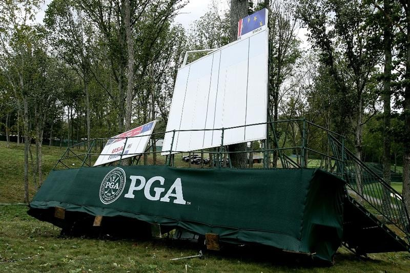 LOUISVILLE, KY - SEPTEMBER 14:  A riser is damaged after a storm on the course prior to the 37th Ryder Cup at Valhalla Golf Club on September 14, 2008 in Louisville, Kentucky.  (Photo by Andy Lyons/Getty Images)
