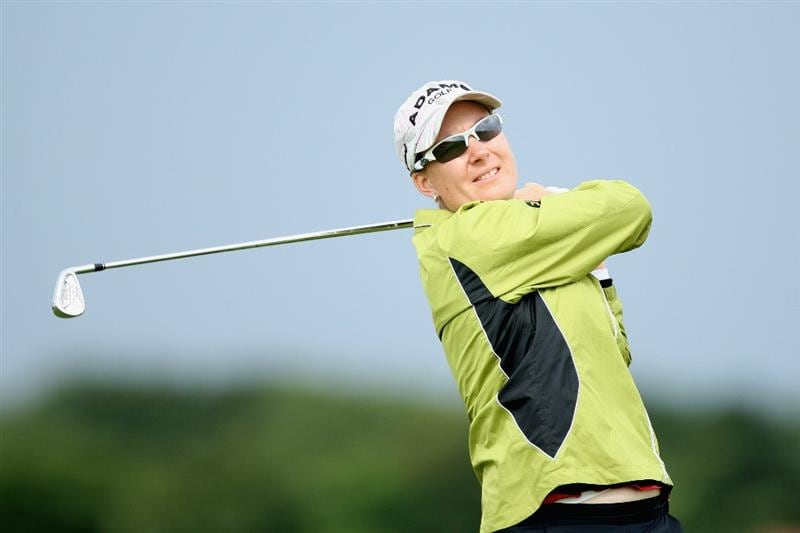 LYTHAM ST ANNES, UNITED KINGDOM - JULY 28:  Lindsey Wright of Australia tees off during the Pro-Am prior to the 2009 Ricoh Women's British Open Championship held at Royal Lytham St Annes Golf Club, on July 28, 2009 in  Lytham St Annes, England. (Photo by David Cannon/Getty Images)