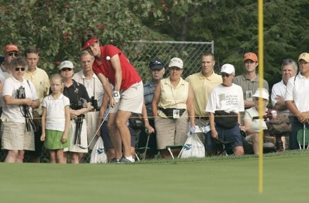 Michele Redman of the United States chips during the Saturday morning foursome matches at the Solheim Cup at Crooked Stick Golf Club in Carmel, Indiana on September 10, 2005.Photo by Michael Cohen/WireImage.com