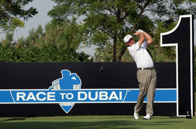 DUBAI, UNITED ARAB EMIRATES - NOVEMBER 24:  Graeme McDowell of Northern Ireland in action during a practice round prior to the start of the Dubai World Championship on the Earth Course, Jumeirah Golf Estates on November 24, 2010 in Dubai, United Arab Emirates.  (Photo by Andrew Redington/Getty Images)