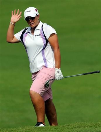 KUALA LUMPUR, MALAYSIA - OCTOBER 23: Karen Stupples of England akwnoledge her put on the 2nd hole during Round Two of the Sime Darby LPGA on October 23, 2010 at the Kuala Lumpur Golf and Country Club in Kuala Lumpur, Malaysia. (Photo by Stanley Chou/Getty Images)