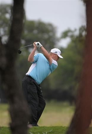 SAN ANTONIO, TX - MAY 15:  Brett Wetterich tees off the 6th hole during the second round of the Valero Texas Open at the TPC San Antonio on May 15, 2010 in San Antonio, Texas. (Photo by Marc Feldman/Getty Images)