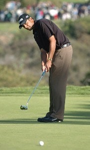 Arjun Atwal putts on the 16th green  during the final round of the PGA TOUR's 2006 Buick Invitational at Torrey Pines South in La Jolla, California January 29, 2006.Photo by Steve Grayson/WireImage.com