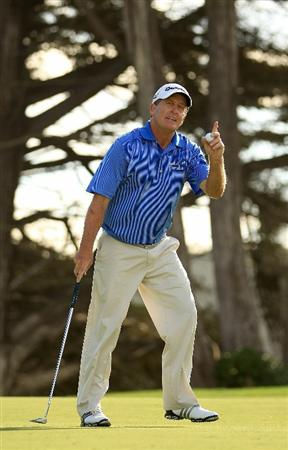 SAN FRANCISCO - NOVEMBER 04:  Fred Funk reacts after making a birdy on the 16th hole during round 1 of the Charles Schwab Cup Championship at Harding Park Golf Course on November 4, 2010 in San Francisco, California.  (Photo by Ezra Shaw/Getty Images)