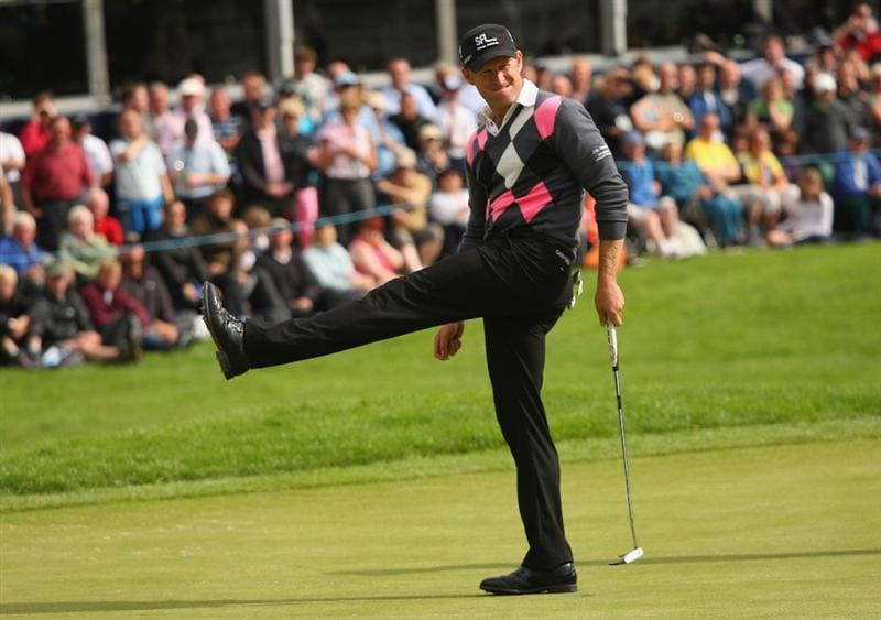 LUSS, UNITED KINGDOM - JULY 12:  Jamie Donaldson of Wales reacts to a missed putt on the 18th green during the Final Round of The Barclays Scottish Open at Loch Lomond Golf Club on July 12, 2009 in Luss, Scotland. (Photo by Andrew Redington/Getty Images)