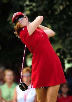OTTAWA - AUGUST 15:  Paula Creamer makes a tee shot on the first hole during the second round of the CN Canadian Women's Open at the Ottawa Hunt and Golf Club on August 15, 2008 in Ottawa, Ontario, Canada.  (Photo by Robert Laberge/Getty Images)