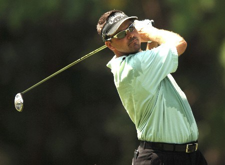 Robert Gamez hits from the fourth tee during the second round of the 2005 Bank of America Colonial at Colonial Country Club in Forth Worth, Texas May 20, 2005.Photo by Steve Grayson/WireImage.com