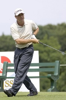 Anthony Painter puts a little body english into his drive during the Rheem Classic at Hardscrabble Country Club in Fort Smith, Arkansas on Friday May 13, 2005.  He finished 7 under and in second place after the second round.Photo by Wesley Hitt/WireImage.com