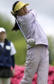 Soo-Yun Kang tees off to start her final round at the Sybase Classic Sunday at the Wykagyl Country Club in New Rochelle, NY.Photo by Patrick Tuohy/WireImage.com