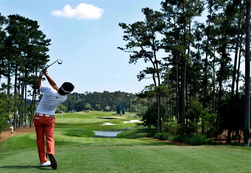 PONTE VEDRA BEACH, FL - MAY 08: Ryuji Imada of Japan plays his tee shot on the fourth hole during the third round of THE PLAYERS Championship held at THE PLAYERS Stadium course at TPC Sawgrass on May 8, 2010 in Ponte Vedra Beach, Florida.  (Photo by Scott Halleran/Getty Images)