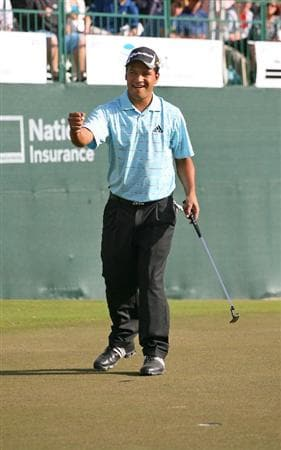 BROUSSARD, LA - MARCH 28: Fabian Gomez of Argentina reacts after making his par putt on the 18th hole during the final round of the Chitimacha Louisiana Open at Le Triomphe Country Club on March 28, 2010 in Broussard, Louisiana. (Photo by Hunter Martin/Getty Images)