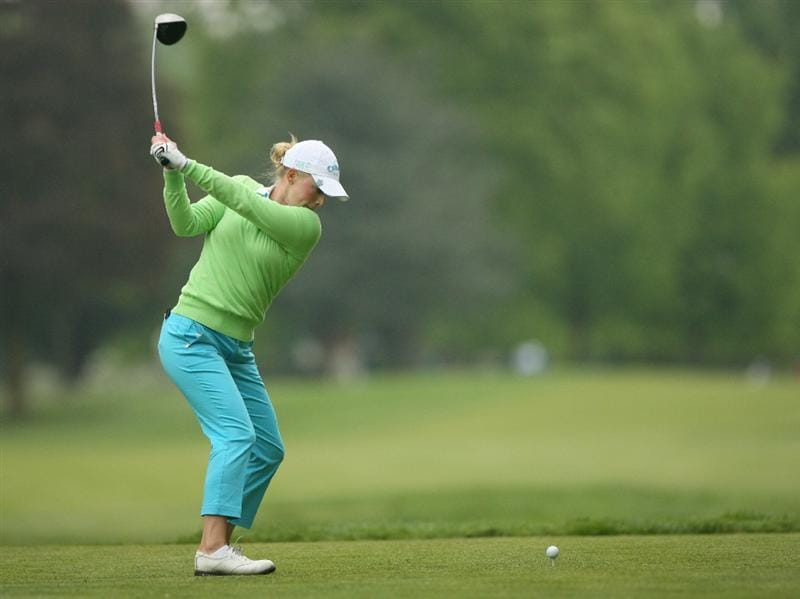CLIFTON, NJ - MAY 14 : Morgan Pressel hits her tee shot on the 7th hole during the first round of the Sybase Classic presented by ShopRite at Upper Montclair Country Club on May 14, 2009 in Clifton, New Jersey. (Photo by Hunter Martin/Getty Images)