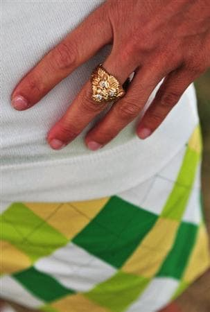 TURNBERRY, SCOTLAND - JULY 16:  Detail showing the ring of John Daly's female companion Anna Cladakis during round one of the 138th Open Championship on the Ailsa Course, Turnberry Golf Club on July 16, 2009 in Turnberry, Scotland.  (Photo by Stuart Franklin/Getty Images)