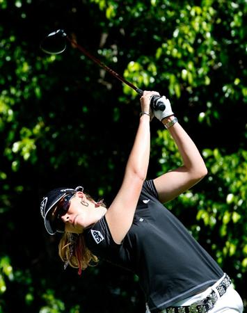 GUADALAJARA, MEXICO - NOVEMBER 12:  Paula Creamer of the United States tees off the fifth hole during the first round of the Lorena Ochoa Invitational Presented by Banamex and Corona at Guadalajara Country Club on November 12, 2009 in Guadalajara, Mexico.  (Photo by Kevin C. Cox/Getty Images)