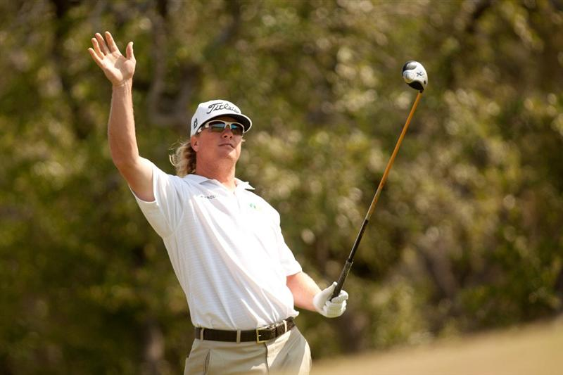 SAN ANTONIO, TX - APRIL 17: Charley Hoffman reacts to a wayward tee shot during the final round of the Valero Texas Open at the AT&T Oaks Course at TPC San Antonio on April 17, 2011 in San Antonio, Texas. (Photo by Darren Carroll/Getty Images)