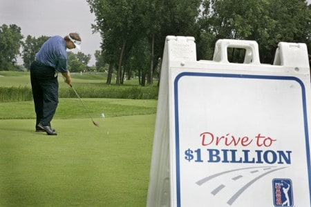 Peter Jacobsen drives off the first tee during the Drive to a Billion Charity,  July 6 ,2005, at the FORD Senior Players Championship, held at  the TPC of Michigan, Dearborn, Michigan.Photo by Stan Badz/PGA TOUR/WireImage.com