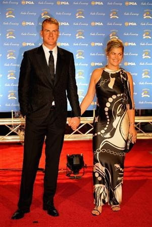 LOUISVILLE, KY - SEPTEMBER 17:  Robert Karlsson of Sweden and the European Ryder Cup team poses with his wife Ebba on the red carpet before the Ryder Cup Gala dinner prior to the start of the 2008 Ryder Cup September 17, 2008 in Louisville, Kentucky.  (Photo by Sam Greenwood/Getty Images)