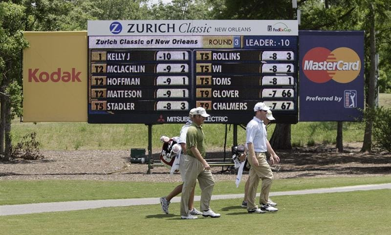 AVONDALE, LA - APRIL 25: Zurich Classic leaders Jerry Kelly, left, and Troy Matteson walk down the 2nd fairway during the third round of the Zurich Classic at TPC Louisiana on April 25, 2009  in Avondale, Louisiana. (Photo by Dave Martin/Getty Images)