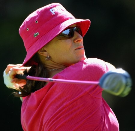 EVIAN, FRANCE - JULY 26:  Patricia Meunier-Lebouc of France hits her tee-shot on the fourth hole during the first round of the Evian Masters on July 26, 2007 in Evian, France.  (Photo by Andrew Redington/Getty Images)