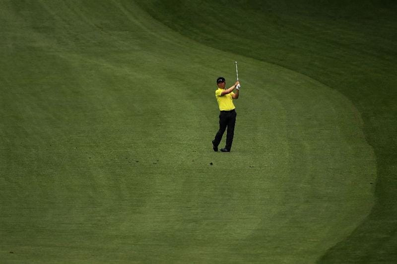AUGUSTA, GA - APRIL 08:  Y.E. Yang of South Korea hits an approach shot on the tenth hole during the second round of the 2011 Masters Tournament at Augusta National Golf Club on April 8, 2011 in Augusta, Georgia.  (Photo by Andrew Redington/Getty Images)