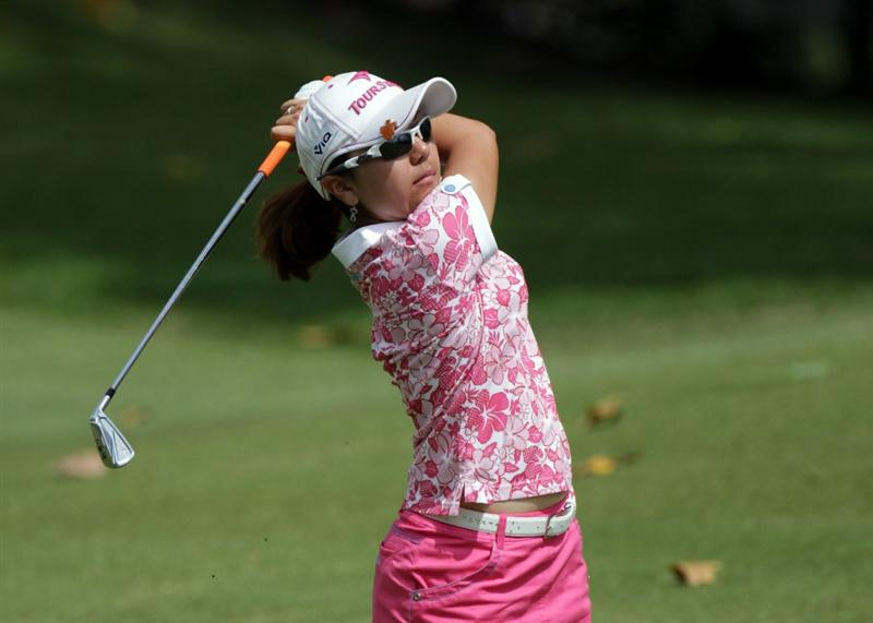SINGAPORE - FEBRUARY 27:  Mika Miyazato of Japan during the final round of the HSBC Women's Champions at Tanah Merah Country Club  on February 27, 2011 in Singapore, Singapore.  (Photo by Ross Kinnaird/Getty Images)