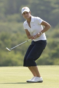 Lorena Ochoa putts on the 10th green during the second round of the 2006 U.S. Women's Open at the Newport Country Club in Newport, Rhode Island, July 1, 2006.Photo by Al Messerschmidt/WireImage.com