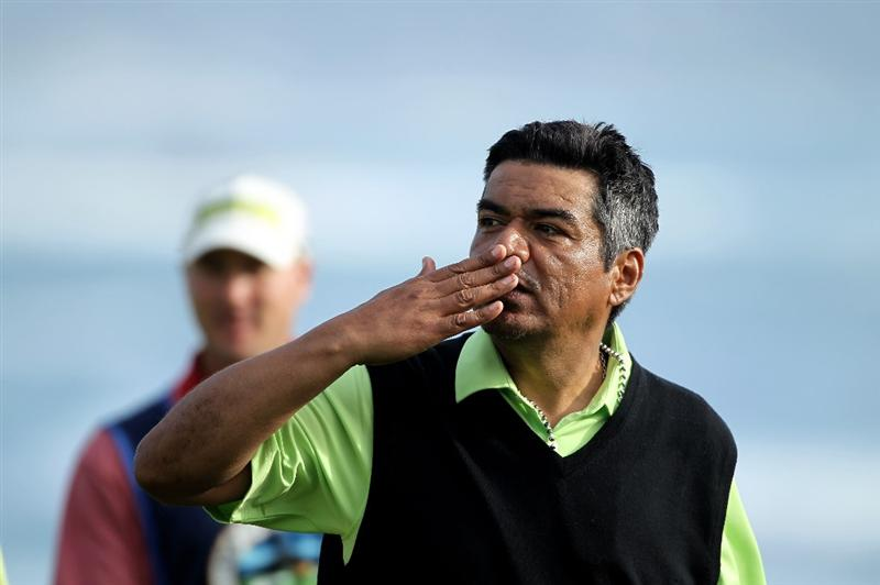 PEBBLE BEACH, CA - FEBRUARY 13:  Actor George Lopez blows a kiss to the crowd after round three of the AT&T Pebble Beach National Pro-Am at Pebble Beach Golf Links on February 13, 2010 in Pebble Beach, California.  (Photo by Ezra Shaw/Getty Images)