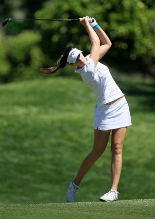 RANCHO MIRAGE, CA - APRIL 01:  Sandra Gal of Germany hits her second shot on the 11th hole during the second round of the Kraft Nabisco Championship at Mission Hills Country Club on April 1, 2011 in Rancho Mirage, California.  (Photo by Stephen Dunn/Getty Images)