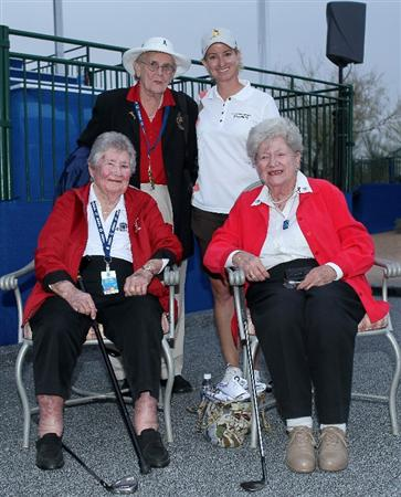 PHOENIX, AZ - MARCH 20:  Karrie Webb of Australia poses with LPGA founders Shirley Spork (standing with Webb), Louise Suggs (seated on the left), and Marilynn Smith after the final round of the RR Donnelley LPGA Founders Cup at Wildfire Golf Club on March 20, 2011 in Phoenix, Arizona. (Photo by Stephen Dunn/Getty Images)