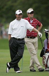 Joe Durant (L) and Brett Quigley wait during the first round of the Buick Open at Warwick Hills Golf and Country Club in Grand Blanc, Michigan on August 3, 2006.Photo by Michael Cohen/WireImage.com