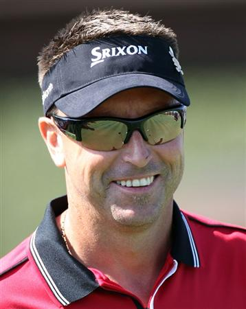 ORLANDO, FL - MARCH 14:  Robert Allenby of Australia smiles during the first day of the Tavistock Cup at Isleworth Golf and Country Club on March 14, 2011 in Orlando, Florida.  (Photo by Sam Greenwood/Getty Images)