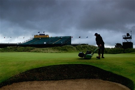 SOUTHPORT, UNITED KINGDOM - JULY 19:  A member of the grounds staff mows a green during the third round of the 137th Open Championship on July 19, 2008 at Royal Birkdale Golf Club, Southport, England.  (Photo by David Cannon/Getty Images)