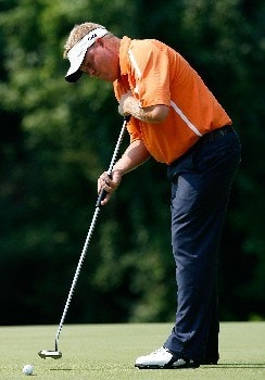 GREENSBORO, NC - AUGUST 15:  Carl Pettersson putts for birdie on the 14th green during the second round of the 2008 Wyndham Championship at Sedgefield Country Club on August 15, 2008 in Greensboro, North Carolina.  (Photo by Kevin C. Cox/Getty Images)