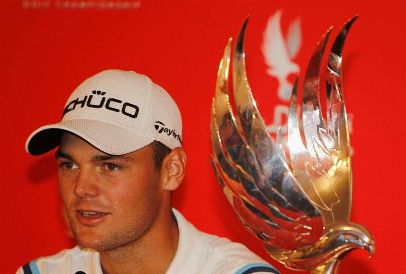 ABU DHABI, UNITED ARAB EMIRATES - JANUARY 23:  Martin Kaymer of Germany chats with the media after winning the 2011 Abu Dhabi HSBC Golf Championship at the Abu Dhabi Golf Club on January 23, 2011 in Abu Dhabi, United Arab Emirates.  (Photo by Scott Halleran/Getty Images)