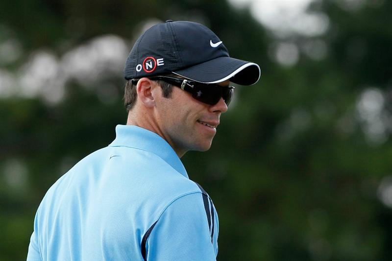 ATLANTA - SEPTEMBER 23:  Paul Casey of England reacts after his putt on the 12th green during the first round of THE TOUR Championship presented by Coca-Cola at East Lake Golf Club on September 23, 2010 in Atlanta, Georgia.  (Photo by Kevin C. Cox/Getty Images)