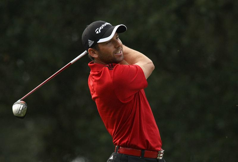 SOTOGRANDE, SPAIN - OCTOBER 29:  Sergio Garcia of Spain tee's off at the 2nd during the second round of the Andalucia Valderrama Masters at Club de Golf Valderrama on October 29, 2010 in Sotogrande, Spain.  (Photo by Richard Heathcote/Getty Images)