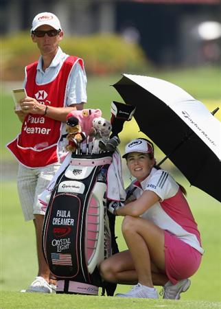 SINGAPORE - MARCH 06:  Paula Creamer of the USA  waits to play her shot during the second round of HSBC Women's Champions at the Tanah Merah Country Club on March 6, 2009 in Singapore.  (Photo by Ross Kinnaird/Getty Images)