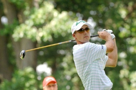 Jonathan Byrd drives from the third tee during the final round of the Cialis Western Open at the Cog Hill Golf Club July 3, 2005 in Lemont, Illinois.Photo by Al Messerschmidt/WireImage.com