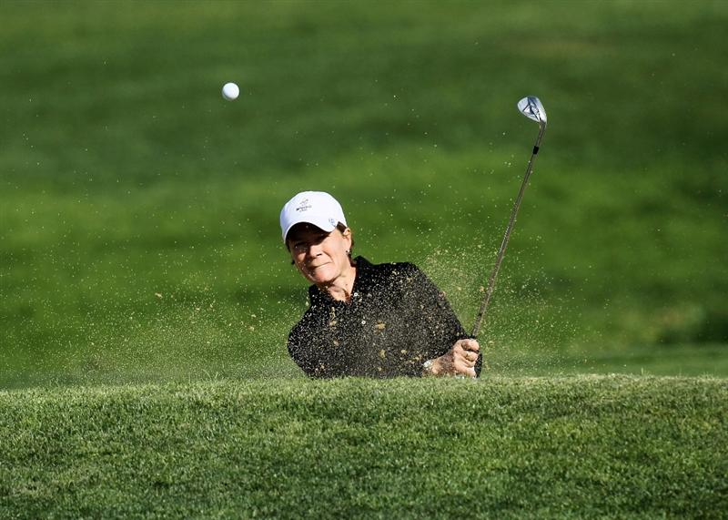 CARLSBAD, CA - MARCH 25: Catriona Matthew of Scotland hits out of a bunker on the sixth hole during the first round of the Kia Classic Presented by J Golf at La Costa Resort and Spa on March 25, 2010 in Carlsbad, California. (Photo by Stephen Dunn/Getty Images)