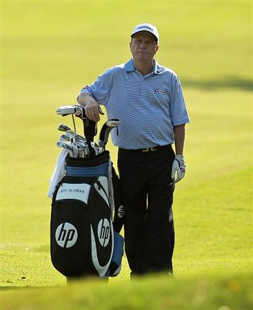 LUTZ, FL - APRIL 15:  Jeff Sluman waits to hit his approach shot on the 11th hole during the first round of the Outback Steakhouse Pro-Am at TPC Tampa Bay on April 15, 2011 in Lutz, Florida.  (Photo by Mike Ehrmann/Getty Images)
