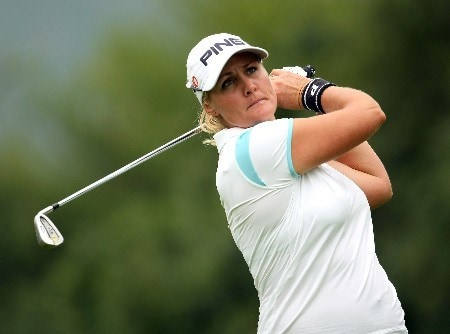 SUN CITY, SOUTH AFRICA - JANUARY 18:  Maria Hjorth of Sweden tee's off at the 3rd during the first round of the Women's World Cup of Golf at The Gary Player Country Club on January 18, 2008 in Sun City, South Africa.  (Photo by Richard Heathcote/Getty Images)