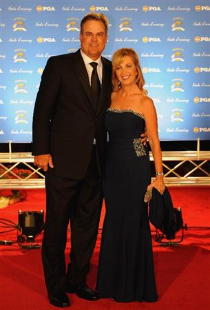 LOUISVILLE, KY - SEPTEMBER 17:  Kenny Perry of the USA team and wife Sandy arrive on the red carpet for the Ryder Cup Gala dinner prior to the start of the 2008 Ryder Cup September 17, 2008 in Louisville, Kentucky.  (Photo by Sam Greenwood/Getty Images)