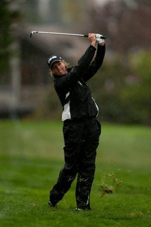 DANVILLE, CA - OCTOBER 17: Wendy Ward follows through on an approach shot during the final round of the CVS/Pharmacy LPGA Challenge at Blackhawk Country Club on October 16, 2010 in Danville, California. (Photo by Darren Carroll/Getty Images)
