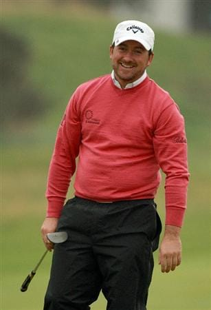 ST ANDREWS, SCOTLAND - OCTOBER 08:  Graeme McDowell of Northern Ireland smiles on the 17th green during the second round of The Alfred Dunhill Links Championship at The Old Course on October 8, 2010 in St Andrews, Scotland.  (Photo by Warren Little/Getty Images)