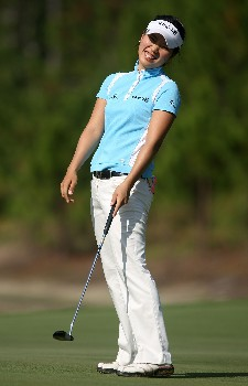 DAYTONA BEACH, FL - DECEMBER 02:  Hee Young Park of South Korea reacts to a missed putt during the final round of the 2007 LPGA Qualifying Tournament at LPGA International on December 2, 2007 in Daytona Beach, Florida  (Photo by Scott Halleran/Getty Images)