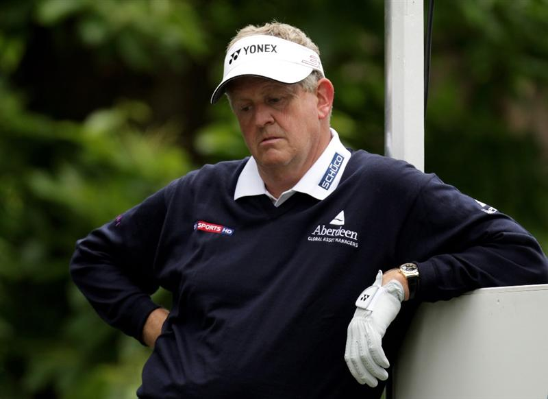 VIRGINIA WATER, ENGLAND - MAY 27:  Colin Montgomerie of Scotland looks on during the second round of the BMW PGA Championship at the Wentworth Club on May 27, 2011 in Virginia Water, England.  (Photo by Ross Kinnaird/Getty Images)
