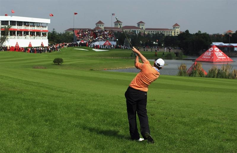 SHANGHAI, CHINA - NOVEMBER 10:  Oliver Wilson of England plays his second shot on the 18th hole during the final round of the HSBC Champions at Sheshan Golf Club on November 10, 2008 in Shanghai, China.  (Photo by Scott Halleran/Getty Images)