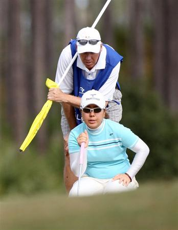 DAYTONA BEACH, FL - DECEMBER 04:  Mika Miyazato of Japan looks over a putt on the 13th hole during the second round of the LPGA Qualifying School at LPGA International on December 4, 2008 in Daytona Beach, Florida.  (Photo by Sam Greenwood/Getty Images)